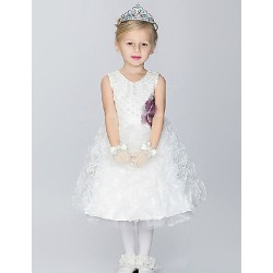 Ball Gown Knee-length Flower Girl Dress - Cotton/Organza/Taffeta Sleeveless