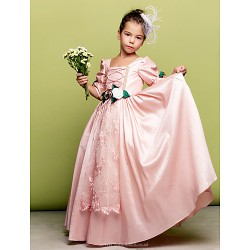 Flower Girl Dress Tea-length A-line|Princess Tulle Square Half Sleeve Dress