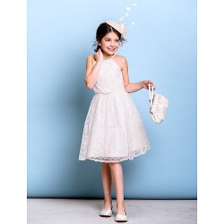 Knee-length Lace Junior Bridesmaid Dress - Ivory A-line Spaghetti Straps
