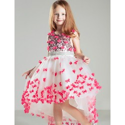 Ball Gown Court Train Flower Girl Dress Satin Sleeveless