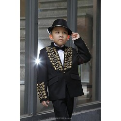 Black Polyester Ring Bearer Suit 5 Pieces
