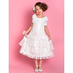 A Line Princess Tea Length Flower Girl Dress Lace Sleeveless