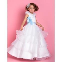 A-line/Princess Floor-length Flower Girl Dress - Organza Sleeveless