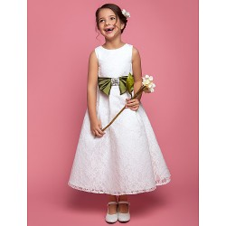 A Line Princess Ankle Length Flower Girl Dress Lace Sleeveless