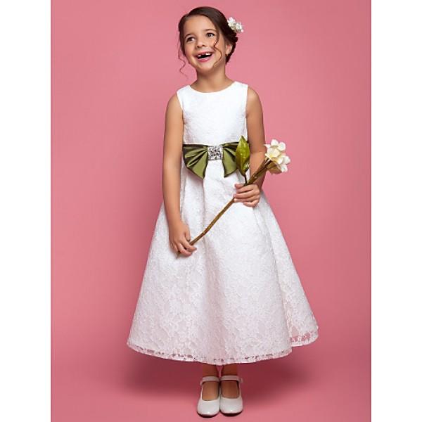 A-line/Princess Ankle-length Flower Girl Dress - Lace Sleeveless Flower Girl Dresses
