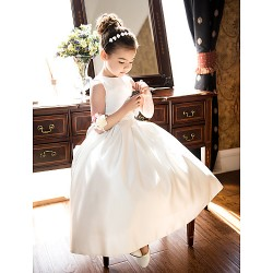 A Line Princess Tea Length Flower Girl Dress Satin Sleeveless