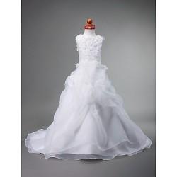 Ball Gown Court Train Flower Girl Dress Satin Organza Sleeveless