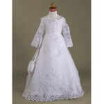A-line/Princess Floor-length Flower Girl Dress - Satin/Organza Long Sleeve Flower Girl Dresses