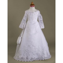A-line/Princess Floor-length Flower Girl Dress - Satin/Organza Long Sleeve