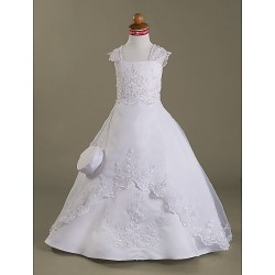 A-line/Princess Floor-length Flower Girl Dress - Satin/Organza Sleeveless