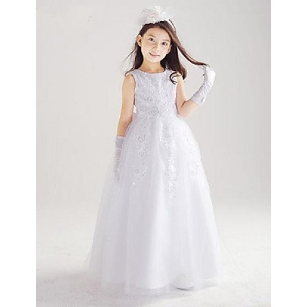 Princess Floor-length Flower Girl Dress - Cotton/Organza/Taffeta Sleeveless Flower Girl Dresses