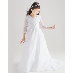 Princess Floor Length Flower Girl Dress Cotton Organza Taffeta 3 4 Length Sleeve
