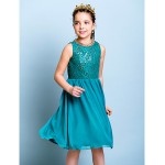 Knee-length Chiffon / Sequined Junior Bridesmaid Dress - Jade A-line Jewel Junior Bridesmaid Dresses