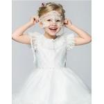 Flower Girl Dress Knee-length Cotton/Organza/Taffeta Ball Gown/Princess Short Sleeve Dress Flower Girl Dresses