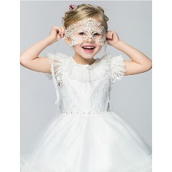 Flower Girl Dress Knee-length Cotton/Organza/Taffeta Ball Gown/Princess Short Sleeve Dress