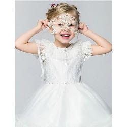 Flower Girl Dress Knee Length Cotton Organza Taffeta Ball Gown Princess Short Sleeve Dress