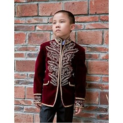 Burgundy Polyester Ring Bearer Suit 5 Pieces