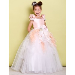 Ball Gown Floor Length Flower Girl Dress Taffeta Tulle Short Sleeve