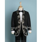 Black/Ivory Polyester Ring Bearer Suit - 4 Pieces Flower Girl Dresses