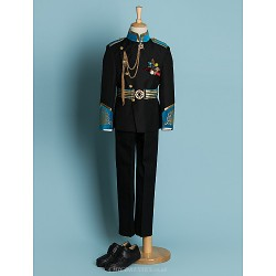 Black Ivory Polyester Ring Bearer Suit 4 Pieces