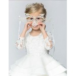 Ball Gown/Princess Knee-length Flower Girl Dress - Cotton/Organza/Taffeta 3/4 Length Sleeve Flower Girl Dresses