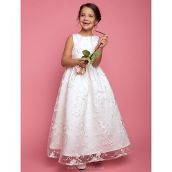 A Line Princess Floor Length Flower Girl Dress Lace Sleeveless