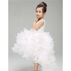 Ball Gown/Princess Knee-length Flower Girl Dress - Cotton/Organza/Taffeta Sleeveless