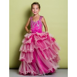 A-line Floor-length Flower Girl Dress - Organza / Satin Sleeveless