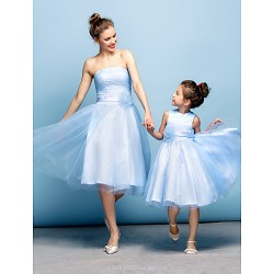 Cocktail Party Dress - Sky Blue Plus Sizes / Petite A-line Strapless Knee-length Tulle