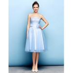 Cocktail Party Dress - Sky Blue Plus Sizes / Petite A-line Strapless Knee-length Tulle Flower Girl Dresses