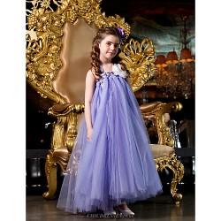 A-line/Princess Floor-length Flower Girl Dress - Tulle Sleeveless