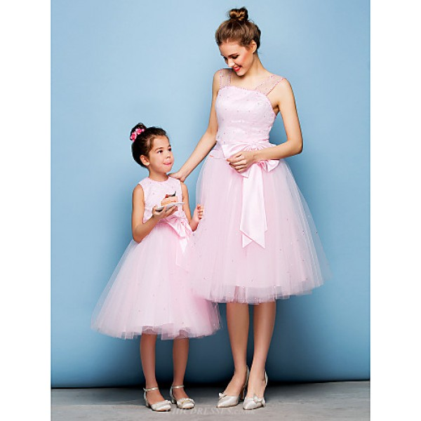 Cocktail Party Dress - Blushing Pink Plus Sizes / Petite Ball Gown Straps Knee-length Tulle Flower Girl Dresses
