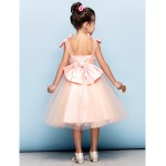 Cocktail Party Dress - Pearl Pink Plus Sizes / Petite Ball Gown Straps Knee-length Organza / Tulle Flower Girl Dresses