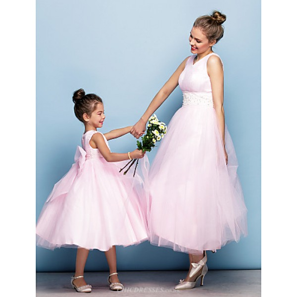 TS Couture Formal Evening Dress - Blushing Pink Plus Sizes / Petite Ball Gown V-neck Tea-length Tulle Flower Girl Dresses