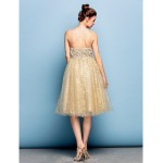 Cocktail Party Dress - Champagne Plus Sizes / Petite Ball Gown Sweetheart Knee-length Sequined Flower Girl Dresses