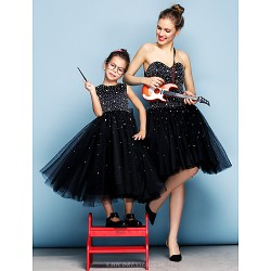 Formal Evening Dress - Black Plus Sizes / Petite Ball Gown Sweetheart Knee-length Tulle