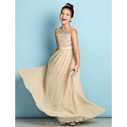 Floor-length Chiffon / Lace Junior Bridesmaid Dress - Champagne A-line Scoop