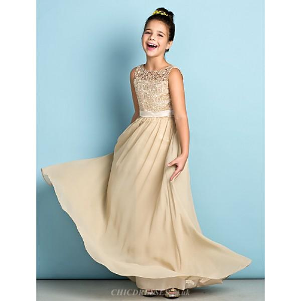Floor-length Chiffon / Lace Junior Bridesmaid Dress - Champagne A-line Scoop Junior Bridesmaid Dresses