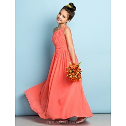 Ankle Length Chiffon Junior Bridesmaid Dress Watermelon A Line One Shoulder