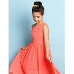 Ankle-length Chiffon Junior Bridesmaid Dress - Watermelon A-line One Shoulder Junior Bridesmaid Dresses