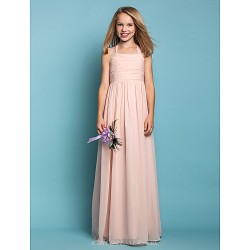 Floor Length Chiffon Junior Bridesmaid Dress Pearl Pink Sheath Column Halter