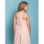 Floor-length Chiffon Junior Bridesmaid Dress - Pearl Pink Sheath/Column Halter Junior Bridesmaid Dresses