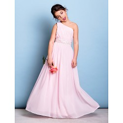 Floor-length Chiffon Junior Bridesmaid Dress - Blushing Pink A-line One Shoulder
