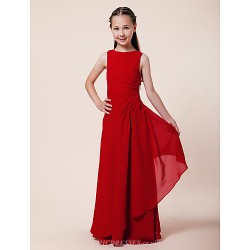 Floor Length Chiffon Junior Bridesmaid Dress Ruby Sheath Column A Line Bateau