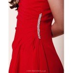 Floor-length Chiffon Junior Bridesmaid Dress - Ruby Sheath/Column / A-line Bateau Junior Bridesmaid Dresses