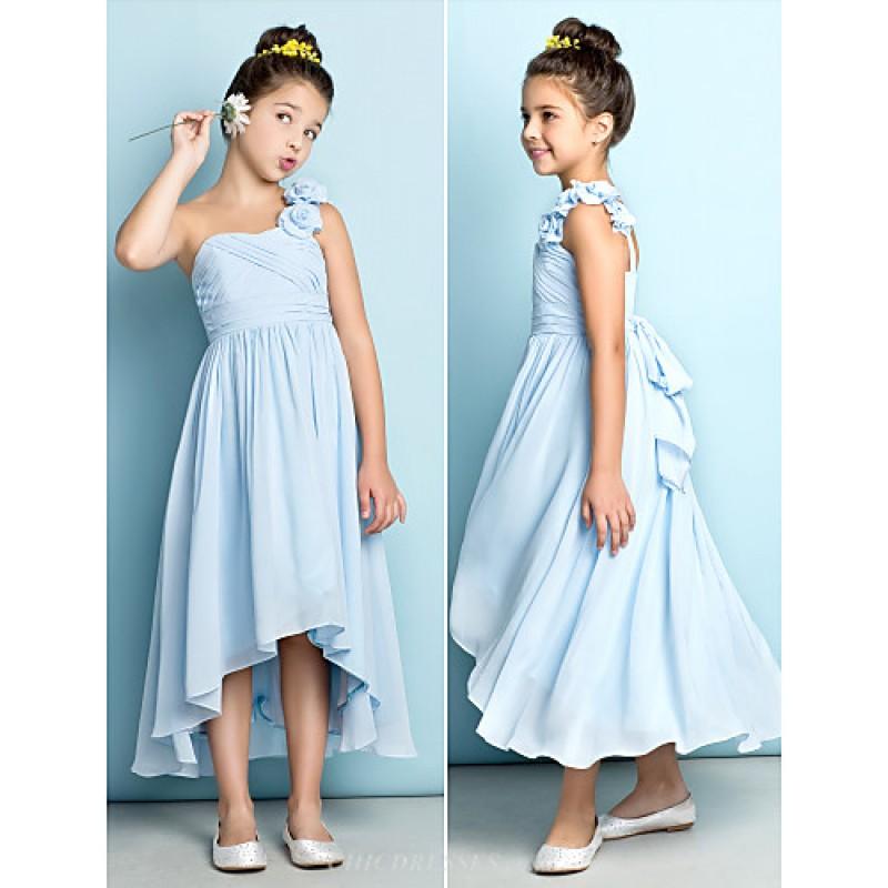 b522a24a3d Asymmetrical Chiffon Junior Bridesmaid Dress - Sky Blue A-line One Shoulder  Junior Bridesmaid Dresses