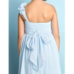 Asymmetrical Chiffon Junior Bridesmaid Dress - Sky Blue A-line One Shoulder Junior Bridesmaid Dresses