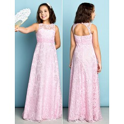 Floor-length Lace Junior Bridesmaid Dress - Blushing Pink Sheath/Column Jewel