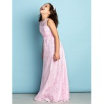 Floor-length Lace Junior Bridesmaid Dress - Blushing Pink Sheath/Column Jewel Junior Bridesmaid Dresses