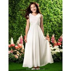 Ankle Length Chiffon Junior Bridesmaid Dress Ivory Sheath Column V Neck
